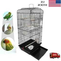 "37"" Steel Bird Parrot Cage Canary Parakeet Cockatiel W Wood"