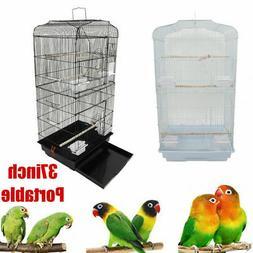 "37"" Steel Bird Parrot Cage Canary Parakeet Cockatiel W Wood"