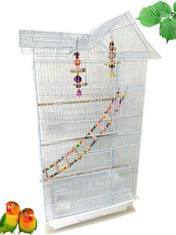 "38"" Bird Flight Cage With TOY Canary Parakeet LoveBird Cocka"