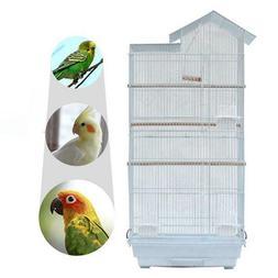 "39"" Steel Bird Parrot Cage Canary Parakeet Cockatiel W Wood"