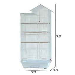 """39"""" Steel Wire Bird Parrot Cage +4 Plastic Feeders+ Wooden P"""