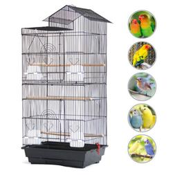 """39"""" Steel Wire Bird Parrot Cage +4 Plastic Feeders+ 3 Wooden"""