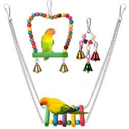3pcs Bird Ladder Swing Toys Play Set fun Colorful Hanging Be