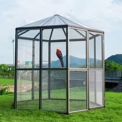XXL Large Bird Cage Outdoor Macaw Aviary Parrot Walk-in Hexa