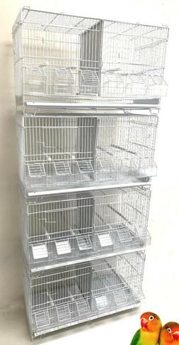 4 of Stackable Double Breeding Bird Flight Canaries Cages Wi