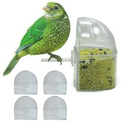 4 Pack Universal Bird Cage Seed Water Food Feeders Clear Hea