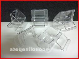 4 Pcs Bird Cage Seed Water Food Feeder Clear Plastic Hood Ex