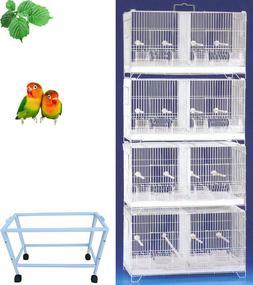 4 Stack Double Breeding Bird Flight Stand Cage Canary Aviary