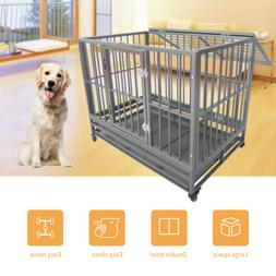 "43"" Large Heavy Duty Metal Dog Crate Pet Kennel Cage Playpen"