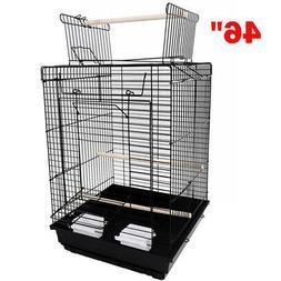 """46"""" Large Size Bird Cage Metal Black Parrot Prevue Pet Suppl"""