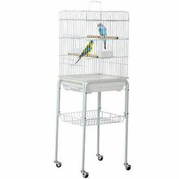 Yaheetech 47-inch Rolling White Bird Cages for Cockatiels Su