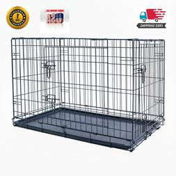 """48"""" Dog Crate Kennel Folding Pet Cage Metal 2 Door With Tray"""