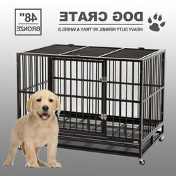 "48"" Dog Crate Large Kennel Cage Heavy Duty Metal Pet Playpen"