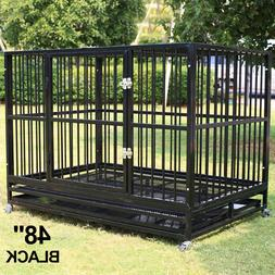 "48"" Dog Crate Large Kennel Heavy Duty Cage Pet W/Wheels & Tr"