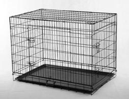 New 48 Pet Folding Dog Cat Crate Cage Kennel w/ABS Tray LC b