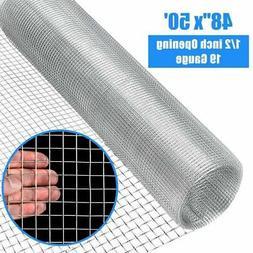 48'' x 50' 1/2inch Wire Fence Mesh Cage Roll Garden 19 Gauge