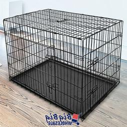 """48""""  Extra Large Folding Dog Crate Kennel Pet Cage Pen 2-Doo"""