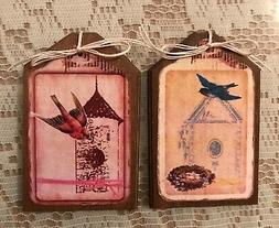 5 **NEW** Wooden Handcrafted BIRD CAGE Ornaments, SPRING Han