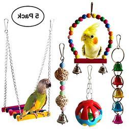 5 Pcs Bird Parrot Toys Hanging Bell Bird Cage Hammock Swing
