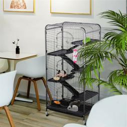 52'' 6 Level Indoor Ferret Rabbit Cage Small Animals Hutch H