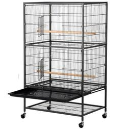 52''Bird Cage Wrought Iron Bird Cage Rolling Stand, 4 Feeder