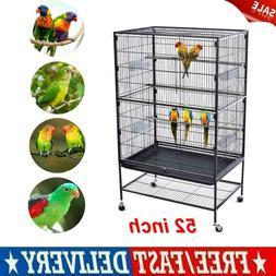 """52"""" Folding Extra Large Bird Pet Cage Large Play Top Parrot"""