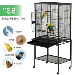 "53"" Large Parrot Bird Cage Chinchilla Cockatiel Conure House"