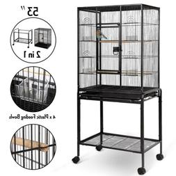 "53"" Large Parrot Bird Cage Cockatiel Lovebird Finch Feeder S"
