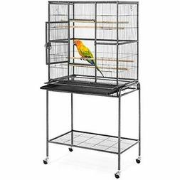 53in Portable Iron Pet Parrot Bird Cage W/Rolling Stand, 2 W