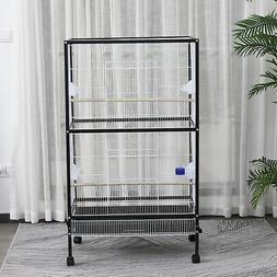 "54""H Large Bird Cage Flight Cage With Stand & Wheels Iron Wi"