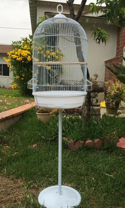 "57"" Round Bird Cage With Stand For Budgies Finches Canary Co"