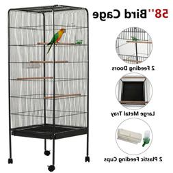 "58"" Large Bird Parrot Cage Chinchilla Cockatiel Conure House"