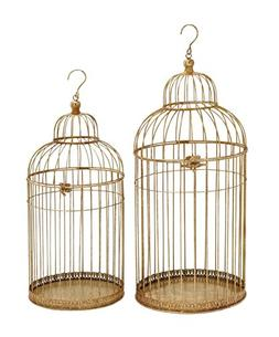 Benzara 58593 Enticing Set Of Two Metal Bird Cage