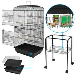 59'' Rolling Bird Cage Powder Coated Budgie Conure Lovebird