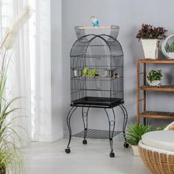 "59"" Large Rolling Parrot Cockatiel Parakeet Conure Bird Cage"