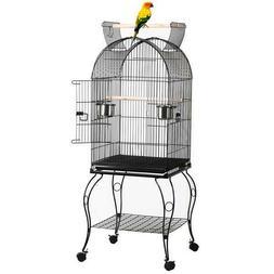 "59"" Yaheetech Large Rolling Metal Bird Cage w/ Open Playtop,"