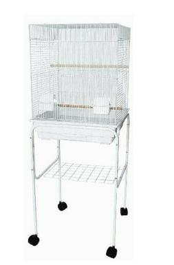 """YML 5924-4814WHT 0.37"""" Bar Spacing Flat Top Bird Cage with S"""
