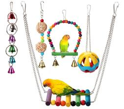 5pcs Bird Hanging Swing Bell Toys fun Play Set for for Bird