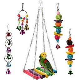 5pcs Bird Ladder Swing Toys Play Set fun Colorful Hanging Be