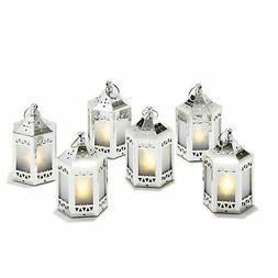 "6 Silver Mini Holographic Star Lanterns, 5"", Warm White LEDs"