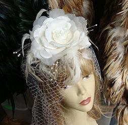 #6 White Ivory Bridal Veil with Feathers - Birdcage Netting
