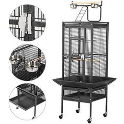 "Yaheetech 61"" Black Bird Cage Parrot Cages Cockatiel Finch w"