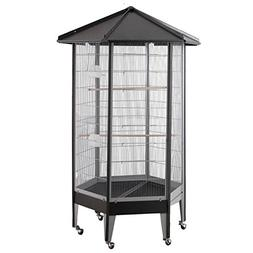 "61818 HQ Large Parrot Aviary Cage 36"" x 31"" x 68"" - Black"