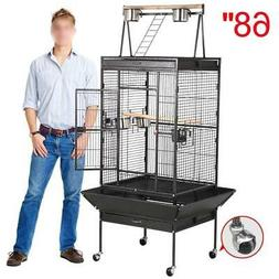 "62""/68"" Wrought Iron Rolling Large Bird Cages for African Gr"
