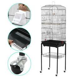 "Yaheetech 62"" Rolling Bird Cage Parrot Finch Aviary Pet Perc"