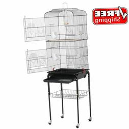 """62"""" Yaheetech Rolling Bird Cage W/ Black Stand  Perch For Pa"""