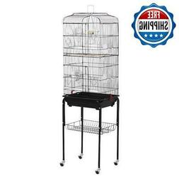 """62"""" Rolling Parrot Finch Bird Cage Large W/ Black Stand & Pe"""