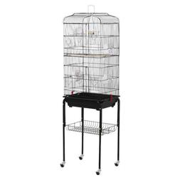 """62"""" Yaheetech Rolling Bird Cage w/ Black Stand & Perch New P"""