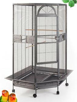 "63"" Large Parrot Escape Jumbo Corner Bird Cage Aviaries Wi"