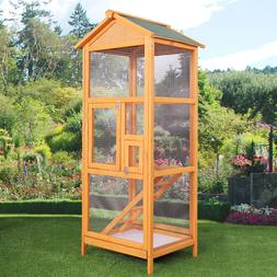"""65"""" Large Bird Cage Wooden Outdoor Crate Pet Parrot Canary P"""